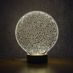 3D Visual Room Atmosphere Number Ball Shape LED Night Light