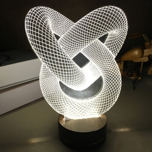 3D Visual Room Atmosphere Double Heart Shape LED Night Light - White