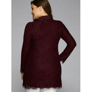 Splicing Long Sleeve Lace Blouse - WINE RED 5XL