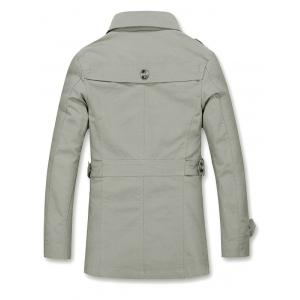 Epaulet Design Buckled Single Breasted Coat - KHAKI 5XL