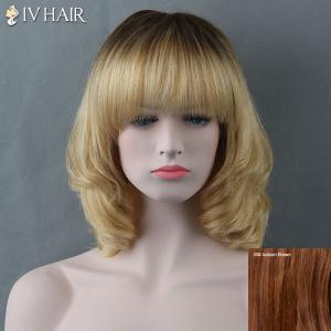 Medium Full Bang Curly Siv Human Hair Wig