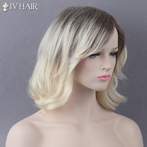 Medium Mixed Color Side Bang Slightly Curled Siv Human Hair Wig - COLORMIX