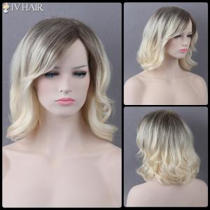 Medium Mixed Color Side Bang Slightly Curled Siv Human Hair Wig