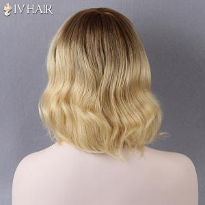 Short Side Bang Slightly Curled Siv Human Hair Wig - AUBURN BROWN #30