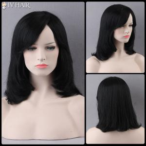 Prevailing Medium Side Bang Straight Siv Human Hair Wig