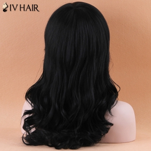Fascinating Long Side Bang Wavy Siv Human Hair Wig - JET BLACK 01#