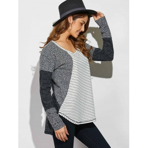 Striped Ribbed Knitted High Low Pullover -