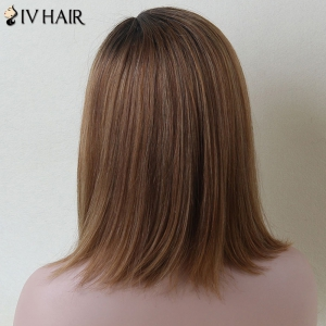 Mixed Color Medium Side Parting Straight Siv Human Hair Wig - COLORMIX