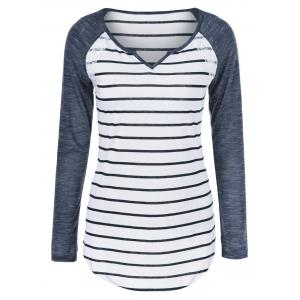 Heather Sleeve Striped Tee -