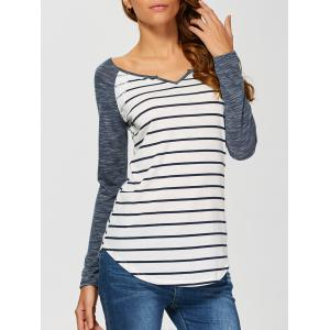 Heather Sleeve Striped Tee