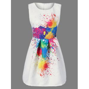 Splatter Print Sleeveless Tulip Dress