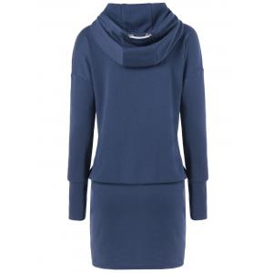Drop Shoulder Sheath Hooded Dress -