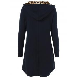 Leopard Kangaroo Pocket Hooded Dress - BLACK XL