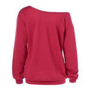 Love Skew Collar Sweatshirt - RED L