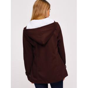 Zip Up Fleece Hooded Duffle Coat - COFFEE XL