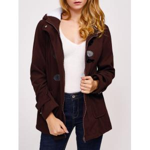 Zip Up Fleece Hooded Duffle Coat - Coffee - M