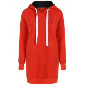 Drawstring Fleece Hoodie Dress - Red - M