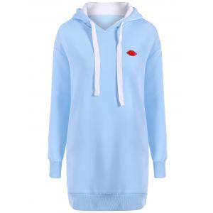 Drawstring Fleece Hoodie Dress - Windsor Blue - S