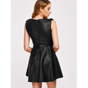 Sleeveless Belted Faux Leather Dress -