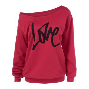 Love Skew Collar Sweatshirt - Red - Xl