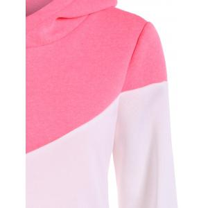 Drawstring Color Block Pullover Hoodie - PINK 2XL
