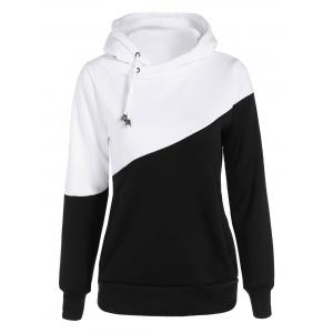 Color Block Long Sleeve Drawstring Hoodie - Black - M