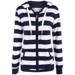 Zip Up Drawstring Striped Hoodie