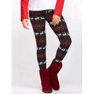 Fawn Snowflake Christmas Leggings - Colormix - One Size