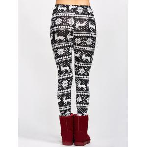Fawn Christmas Bodycon Leggings - WHITE AND BLACK ONE SIZE