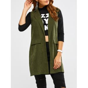 Lapel Open Front Waistcoat - Army Green - S