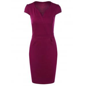 Summer Short Sleeve Bandage Dress - Wild Berry - M