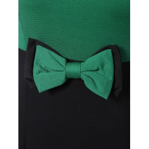 Two Tone Pencil Work Dress with Bowknot - GREEN 2XL