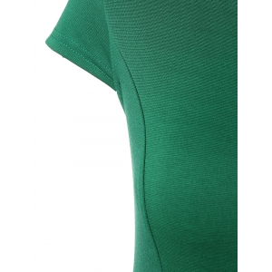 Two Tone Pencil Work Dress with Bowknot - GREEN L