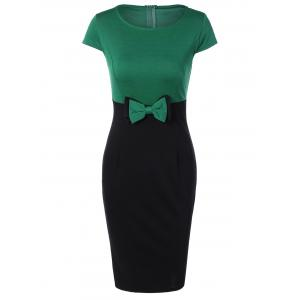 Two Tone Pencil Work Dress with Bowknot