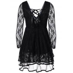 Criss-Cross Ribbon Plunging Lace Low Cut Short Dress - BLACK ONE SIZE