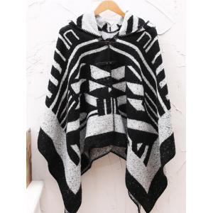 Hooded Asymmetric Geometric Pullover Wool Cape - Black - One Size