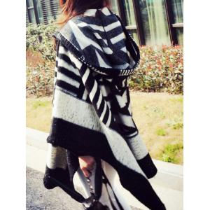 Hooded Asymmetric Geometric Pullover Wool Cape - BLACK ONE SIZE