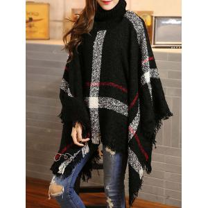 Turtleneck Fringed Asymmetric Cashmere Cape Sweater -