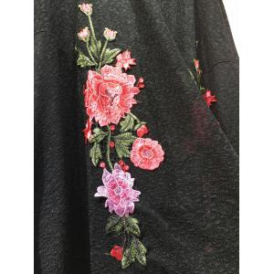 Floral Embroidered Knitted Long Sleeve Kimono Cardigan - BLACK 2XL