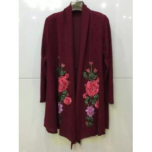 Floral Embroidered Knitted Long Sleeve Kimono Cardigan - BURGUNDY 2XL