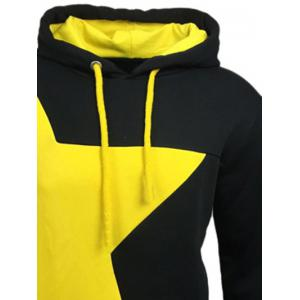 Color Block Star Splicing Yellow Hoodie - BLACK 2XL