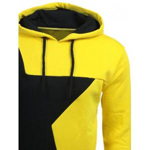 Color Block Star Splicing Yellow Hoodie - YELLOW M
