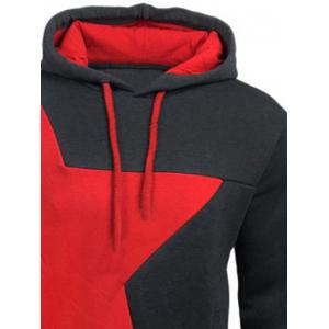 Color Block Star Splicing Hoodie - DEEP GRAY L