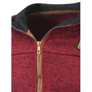 Hooded Cotton Blends Applique Zip Up Hoodie - RED L