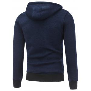 Hooded Cotton Blends Applique Zip Up Hoodie - BLUE M