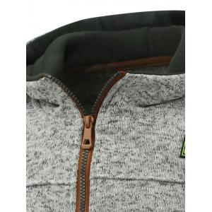 Hooded Cotton Blends Applique Zip Up Hoodie - LIGHT GRAY L