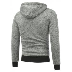 Hooded Cotton Blends Applique Zip Up Hoodie - LIGHT GRAY M