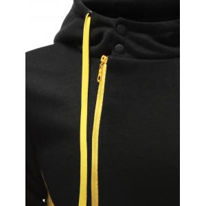 Hooded Button Design Drawstring Color Block Hoodie - BLACK L