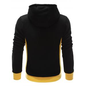 Hooded Button Design Drawstring Color Block Hoodie - BLACK M