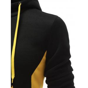 Hooded Button Design Drawstring Color Block Hoodie - BLACK S